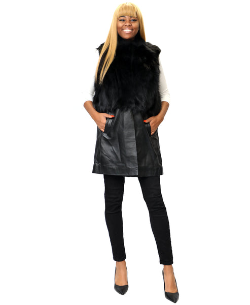Zoom view for Fox Fur & Leather Vest