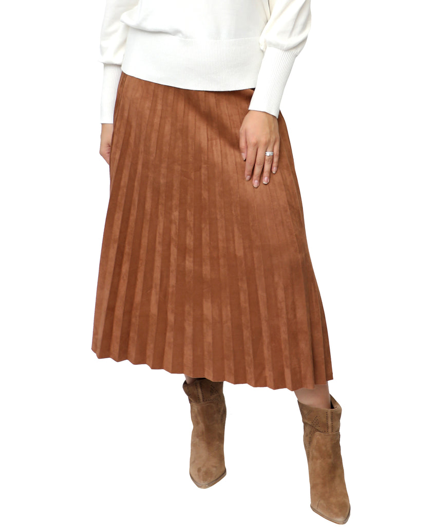 Midi Faux Suede Pleated Skirt