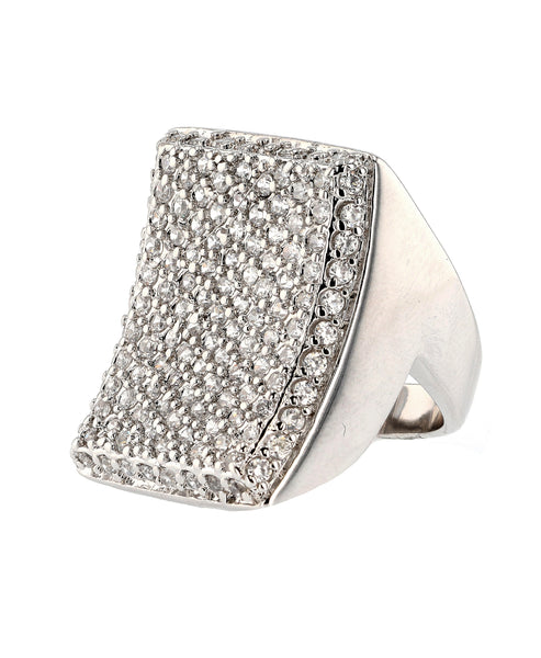 Zoom view for Cubic Zirconia Rectangular Statement Ring