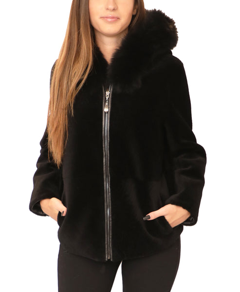 Shearling Jacket w/ Fox Fur Trim Hood