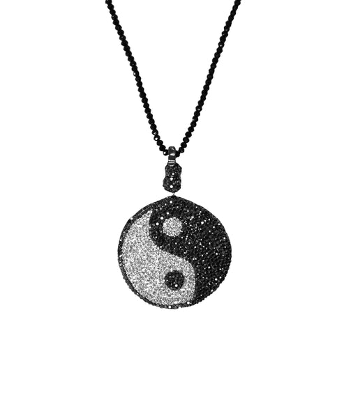 Crystal Pave Yin & Yang Necklace