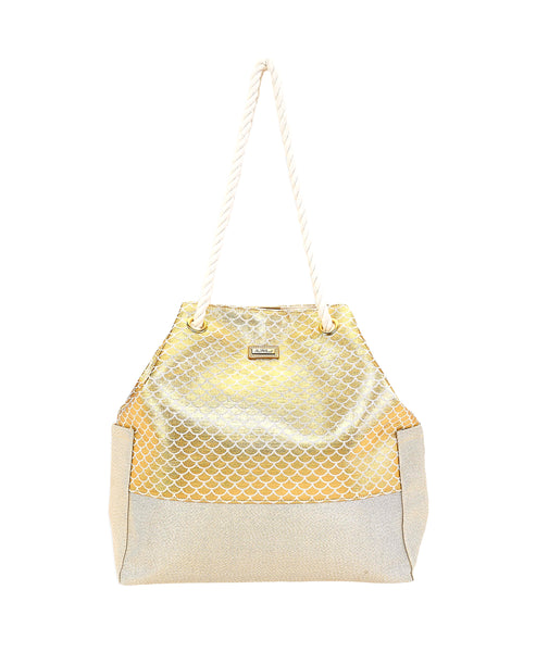 Zoom view for Metallic Handle Beach Tote