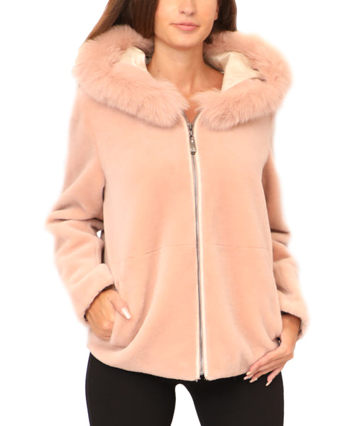 Shearling Jacket w/ Fox Fur Trim Hood - Fox's