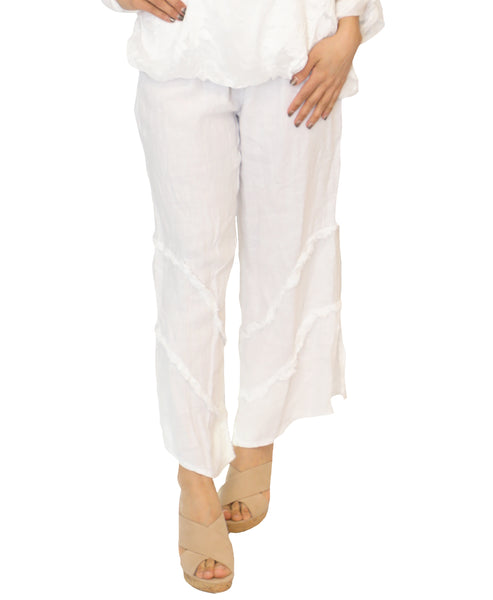 Zoom view for Linen Pant w/ Tiered Frayed Details