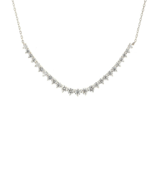 Zoom view for Curved Bar Necklace w/ Cubic Zirconia