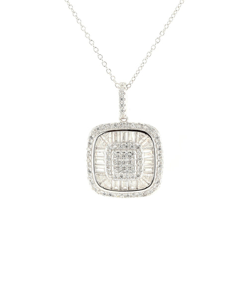 Zoom view for Square Pendant Necklace w/ Cubic Zirconia