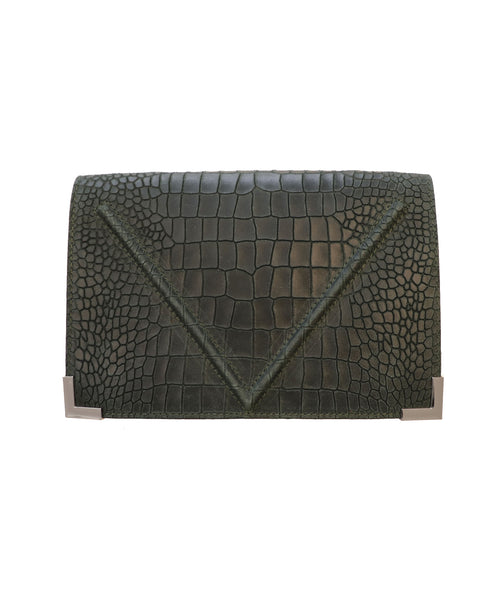 Croco Embossed Leather Handbag