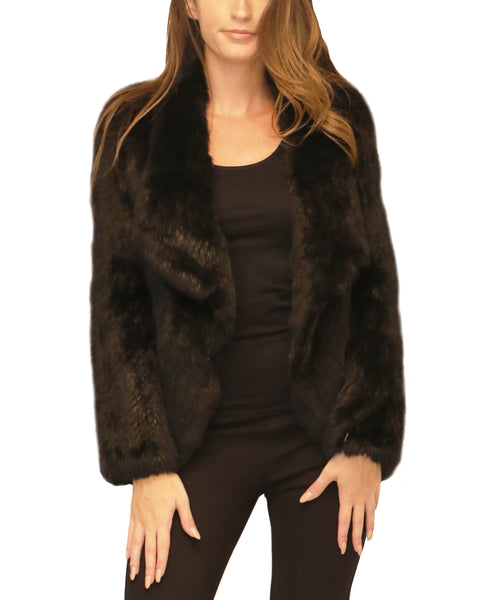 Knitted Rabbit Fur Draped Jacket - Fox's