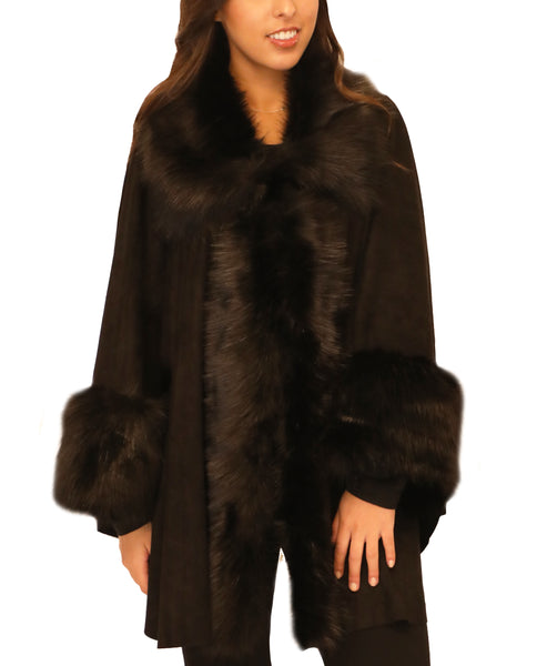 Faux Suede Cape w/ Faux Fur Trim - Fox's