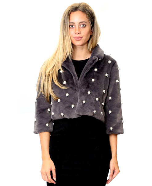 Zoom view for Faux Fur Crop Jacket w/ Pearls & Rhinestones