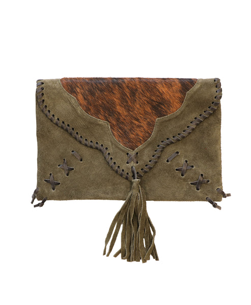 Suede Handbag w/ Calf Hair
