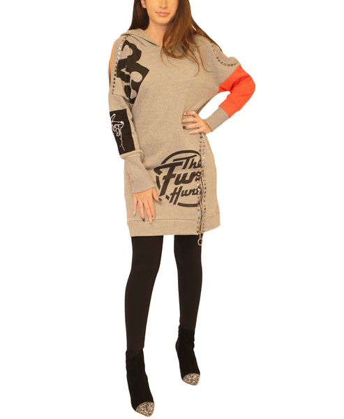 Cold Shoulder Hooded Tunic Top - Fox's