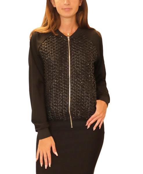 Bomber Jacket w/ Lace & Sequin Detail - Fox's