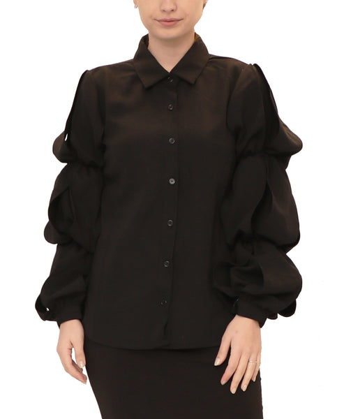 Blouse w/ Tiered Puff Sleeves