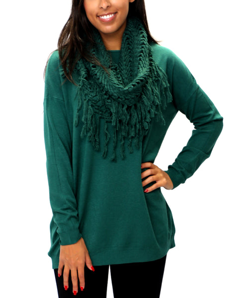 Zoom view for Sweater w/ Fringe Scarf Set