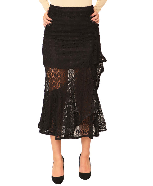 Lace Asymmetrical Ruffle Skirt - Fox's