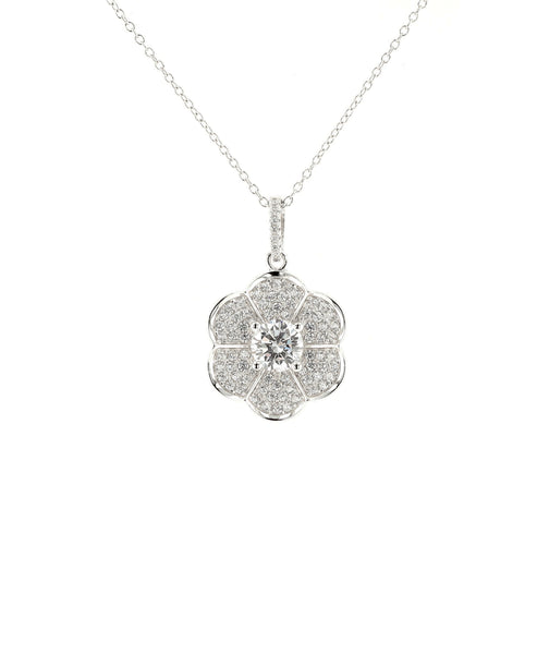 Zoom view for Flower Pendant Necklace w/ Cubic Zirconia