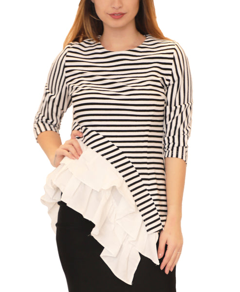 Asymmetrical Ruffle Hem Stripe Top - Fox's