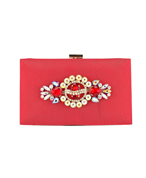 Zoom view for Jeweled Satin Clutch A