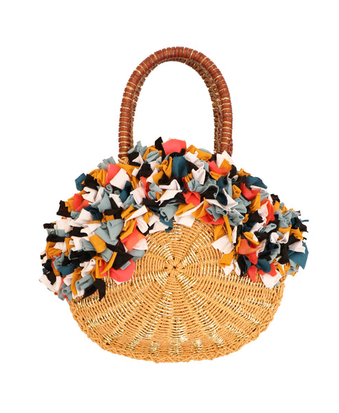 Round Straw Handbag w/ Fabric Accents