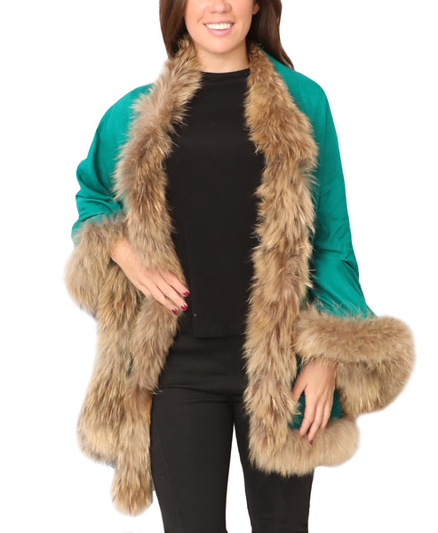 Cashmere Wrap w/ Fur Trim - Fox's