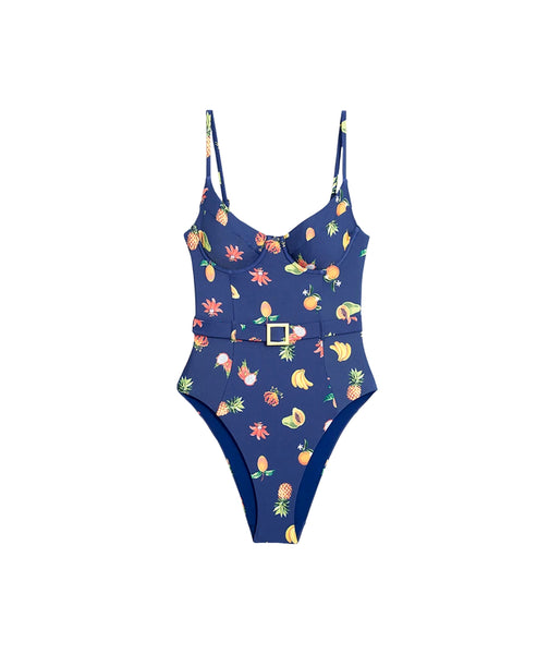 Zoom view for One-Piece Fruit Print Swimsuit w/ Belt