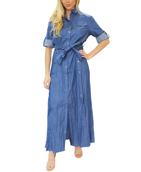 Zoom view for Denim Maxi Shirt Dress