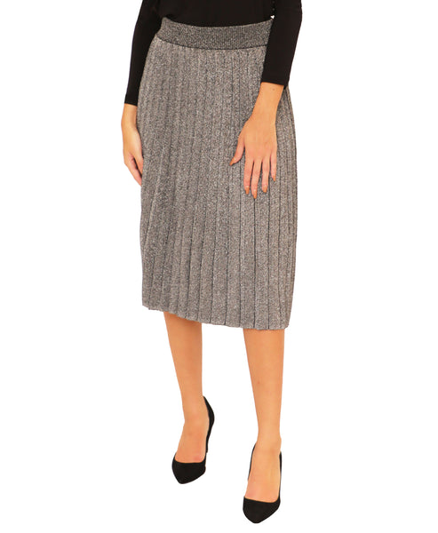 Pleated Lurex Knit Skirt