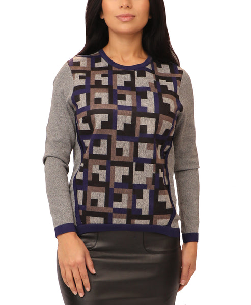 Lightweight Knit Sweater w/ Geometric Pattern - Fox's