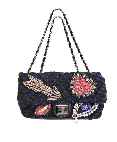 Knit Handbag w/ Jeweled Accents