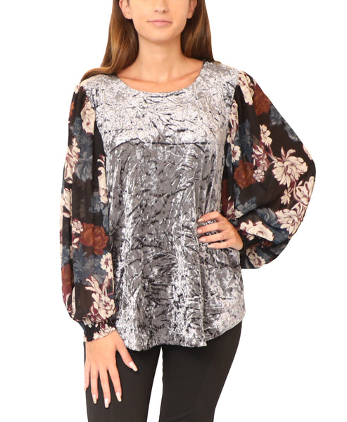 Crushed Velvet Top w/ Floral Sleeves - Fox's