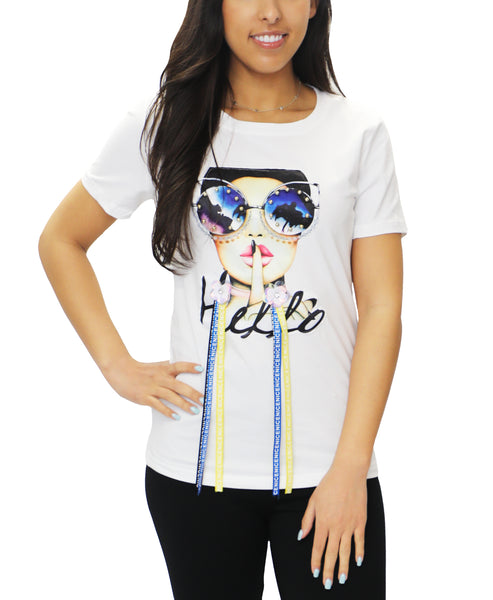 "Zoom view for ""Hello"" Embellished Tee"
