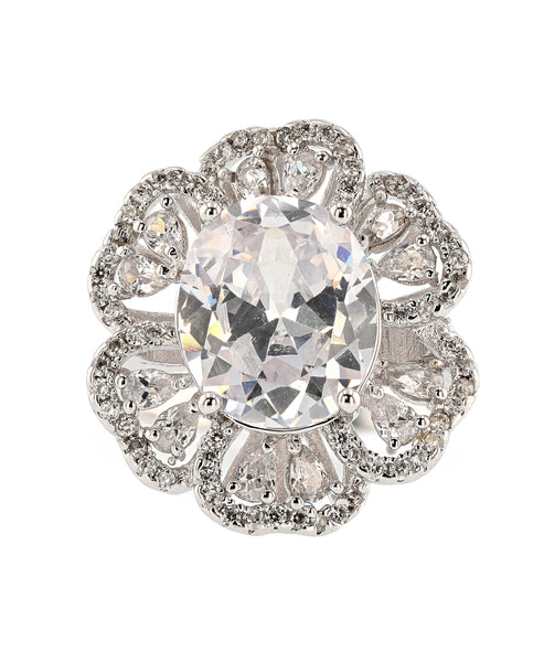Zoom view for Cubic Zirconia Flower Statement Ring