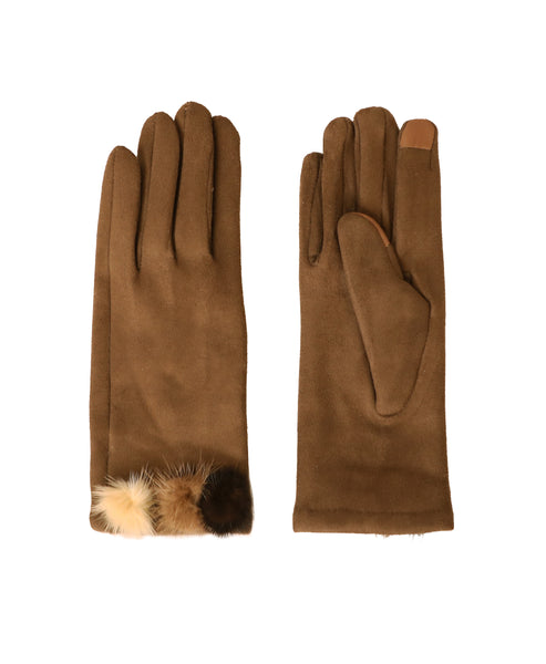 Faux Suede Gloves w/ Mink Accents - Fox's