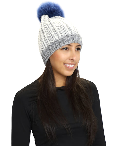 Zoom view for Cable Knit Hat w/ Fur Pom