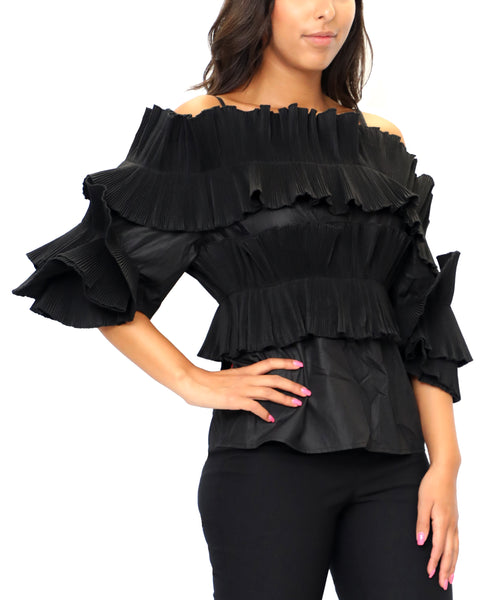 Zoom view for Off The Shoulder Pleated Top