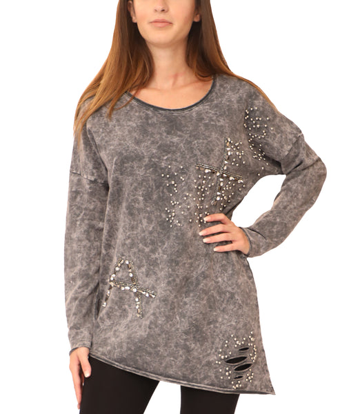 Distressed Asymmetrical Top w/ Crystals & Studs - Fox's