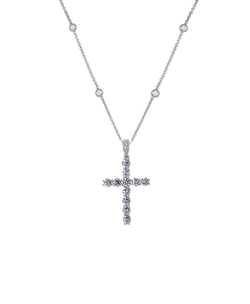 "Zoom view for ""Cross"" Necklace w/ CZ's By The Yard - Fox's"