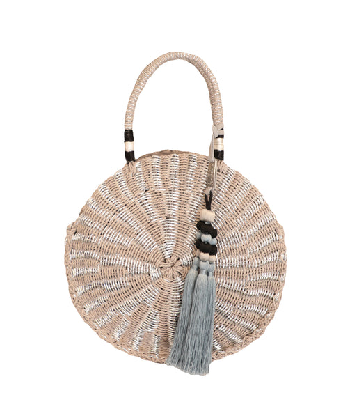 Round Straw Handbag w/ Silver Accents - Fox's