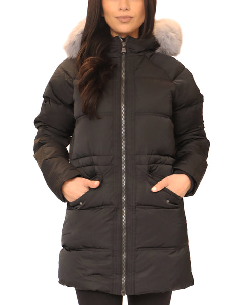 Down Hooded Parka w/ Fur Trim - Fox's