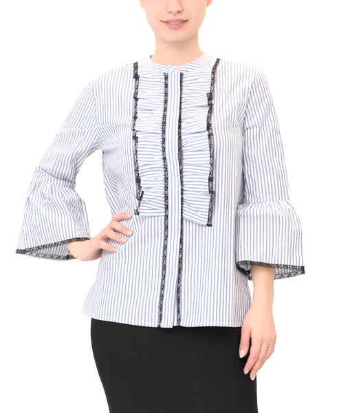 Striped Shirt w/ Lace Trim