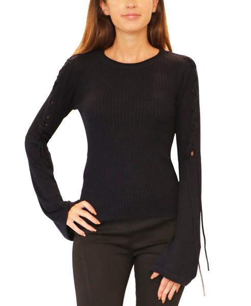 Lightweight Knit Ribbed Sweater w/ Lace Up Detail