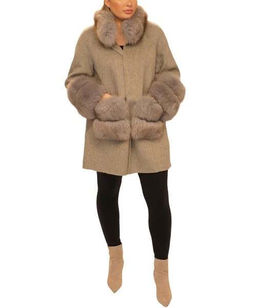 Cashmere Coat w/ Fox Fur Trim - Fox's