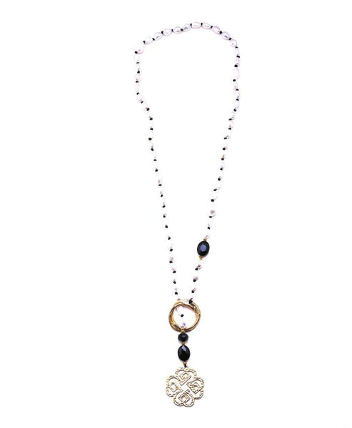 Freshwater Pearl Knot Slide Lariat Necklace