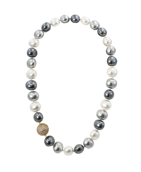 Faux Pearl Necklace w/ CZ Accent ONLINE EXCLUSIVE - Fox's