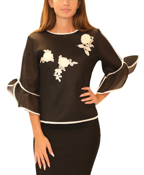 Sheer Mesh Blouse w/ Floral Appliques & Pearls