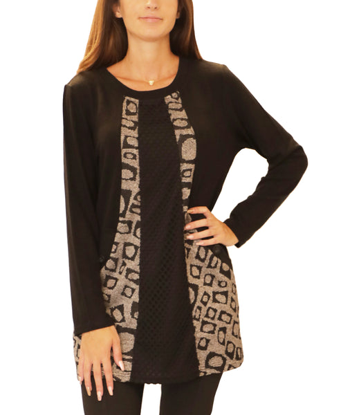 Print & Mesh Mixed Media Tunic Top