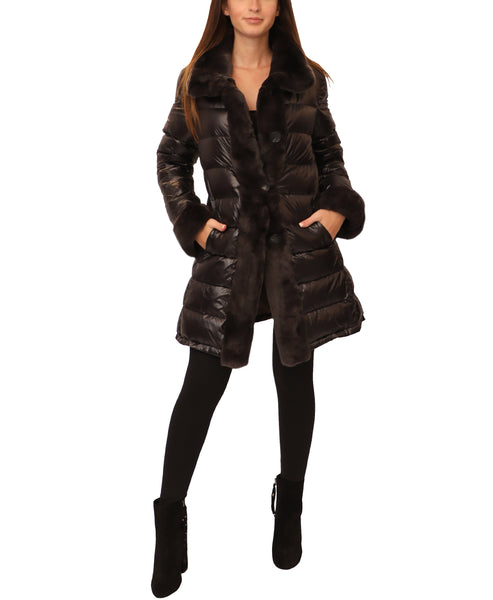 Down Reversible Coat w/ Fur Trim - Fox's