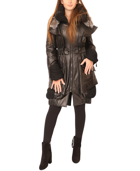 Leather Coat w/ Silver Fox - Fox's