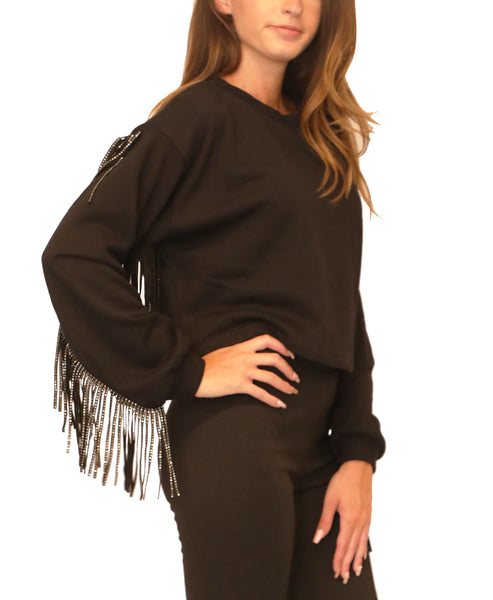 Cropped Sweatshirt w/ Crystal Fringe Detail